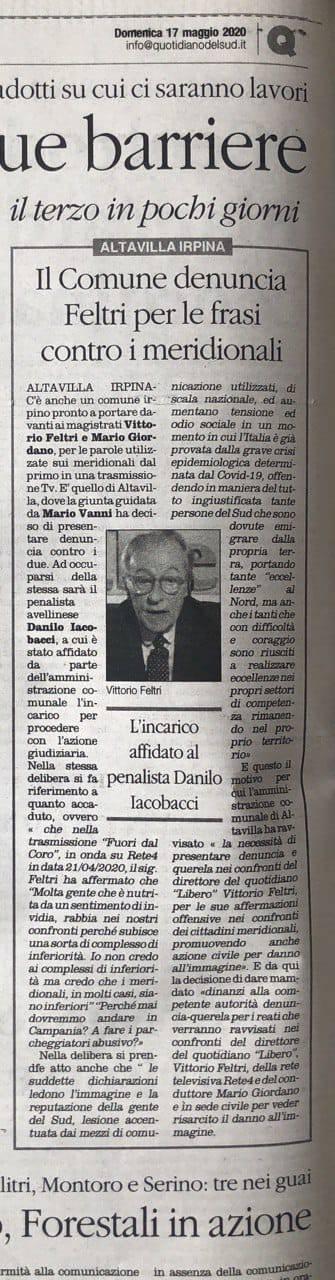 Il Comune di Altavilla Irpina fa causa a Vittorio Feltri per le frasi sui meridionali inferiori